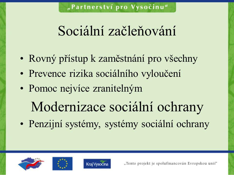 Sociální začleňování Rovný přístup k zaměstnání pro všechny Prevence rizika sociálního vyloučení Pomoc nejvíce zranitelným Modernizace sociální ochran