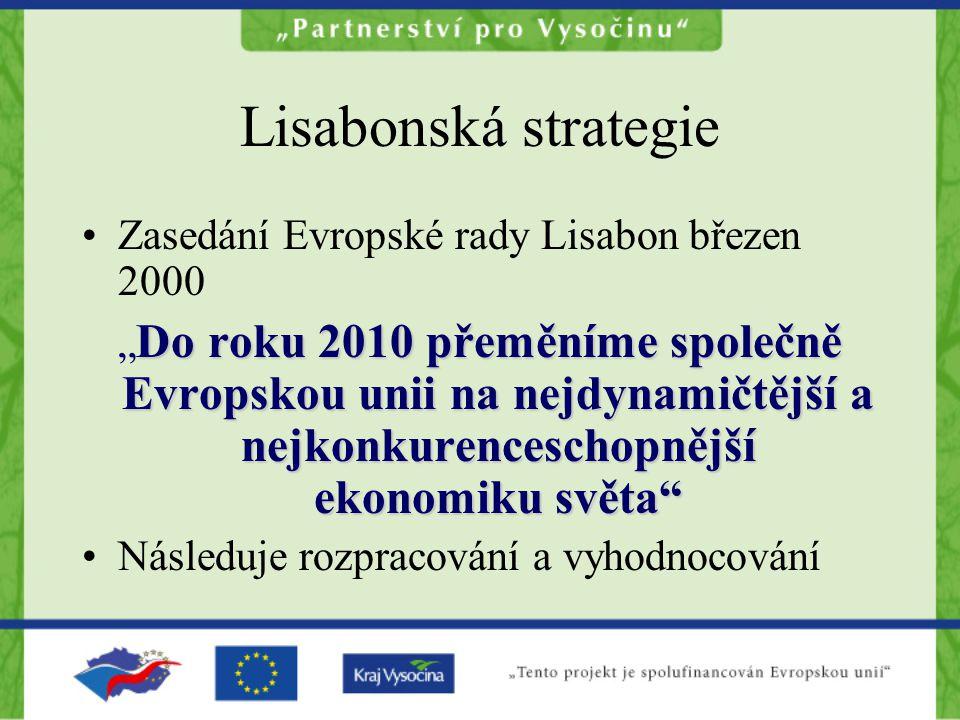 Lisabonská strategie Zasedání Evropské rady Lisabon březen 2000 Do roku 2010 přeměníme společně Evropskou unii na nejdynamičtější a nejkonkurenceschop