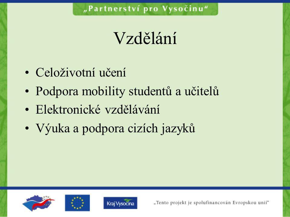 Vzdělání Celoživotní učení Podpora mobility studentů a učitelů Elektronické vzdělávání Výuka a podpora cizích jazyků