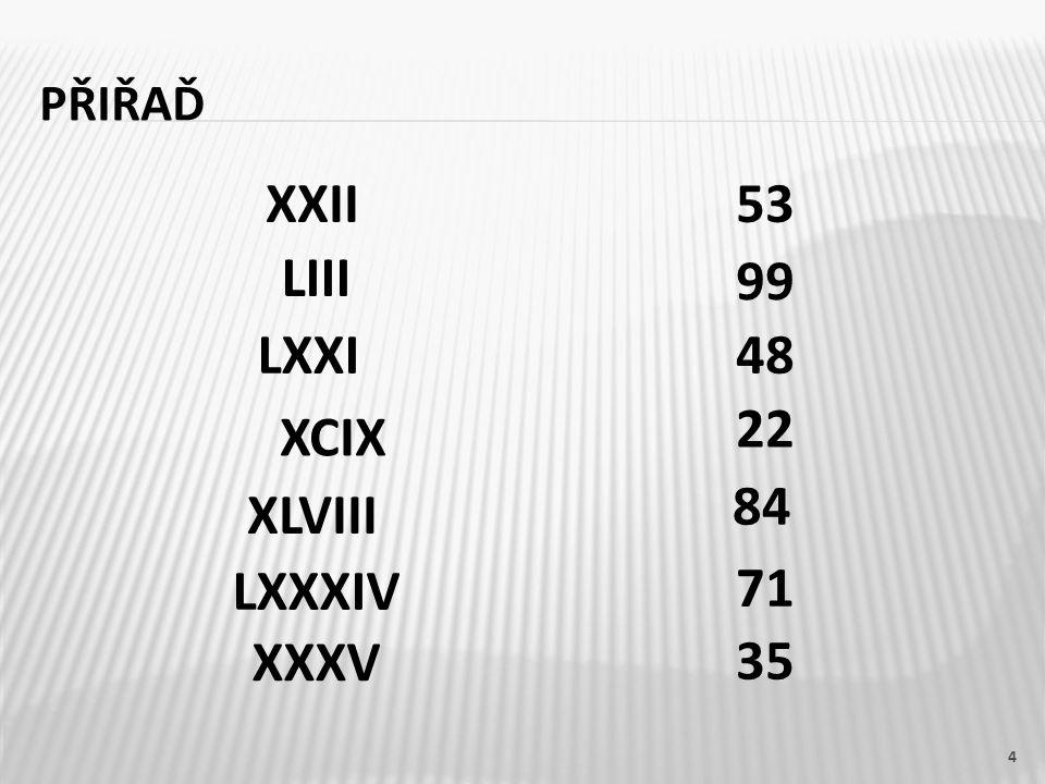 PŘIŘAĎ XXII53 LIII LXXI XCIX XLVIII LXXXIV XXXV 99 48 22 84 71 35 4