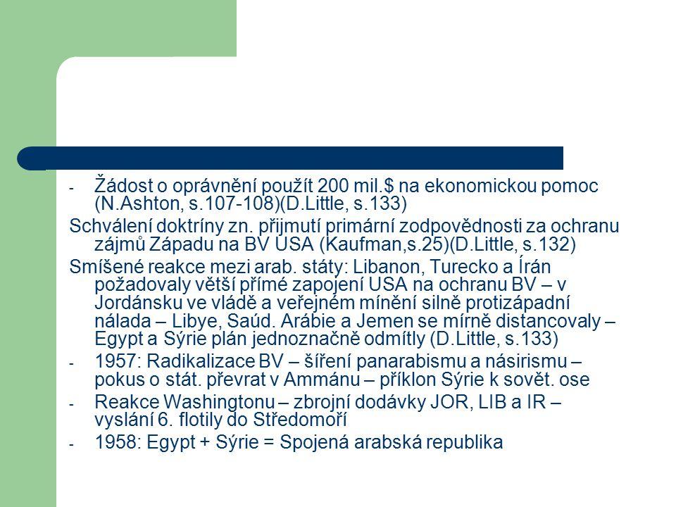 - Žádost o oprávnění použít 200 mil.$ na ekonomickou pomoc (N.Ashton, s.107-108)(D.Little, s.133) Schválení doktríny zn.