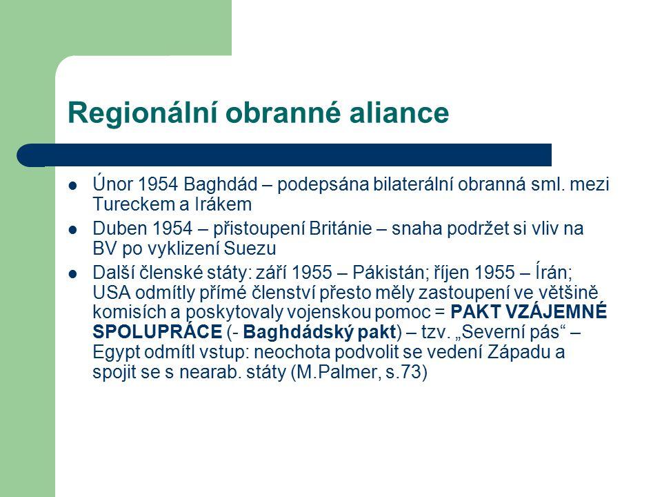 Regionální obranné aliance Únor 1954 Baghdád – podepsána bilaterální obranná sml.