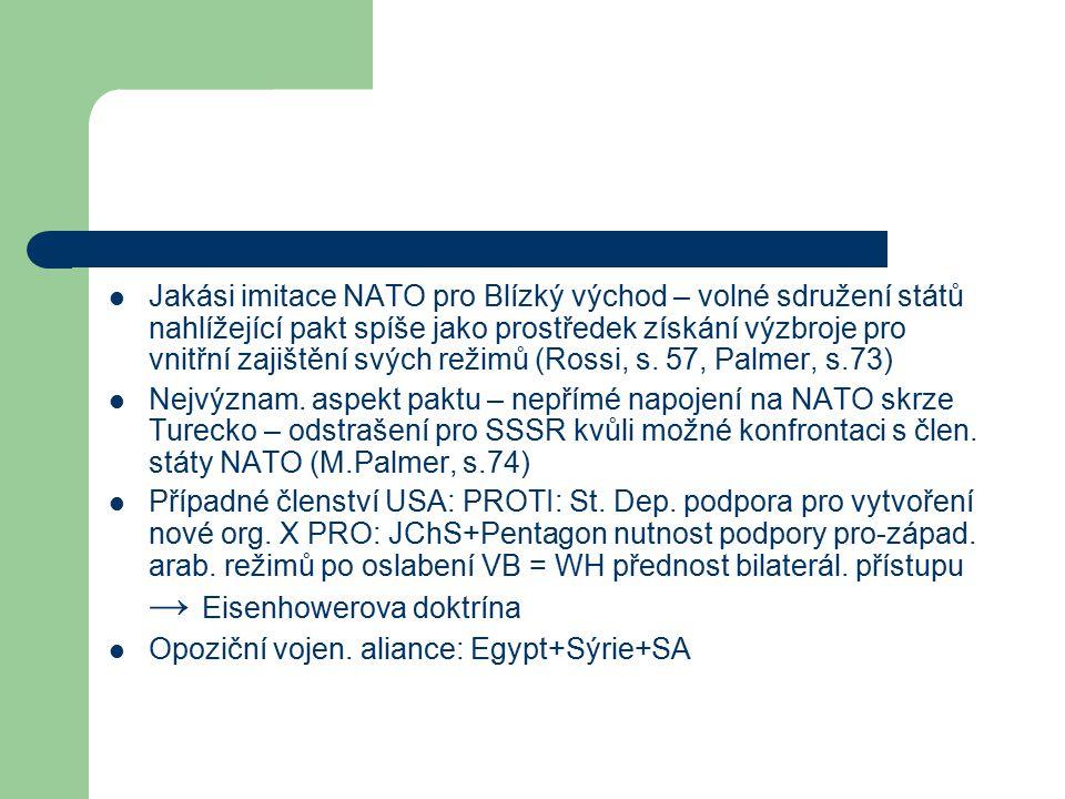Jakási imitace NATO pro Blízký východ – volné sdružení států nahlížející pakt spíše jako prostředek získání výzbroje pro vnitřní zajištění svých režimů (Rossi, s.