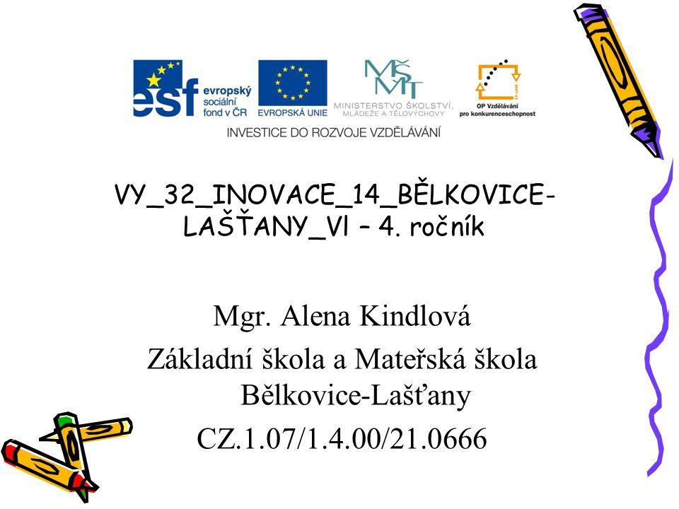 VY_32_INOVACE_14_BĚLKOVICE- LAŠŤANY_Vl – 4. ročník Mgr. Alena Kindlová Základní škola a Mateřská škola Bělkovice-Lašťany CZ.1.07/1.4.00/21.0666