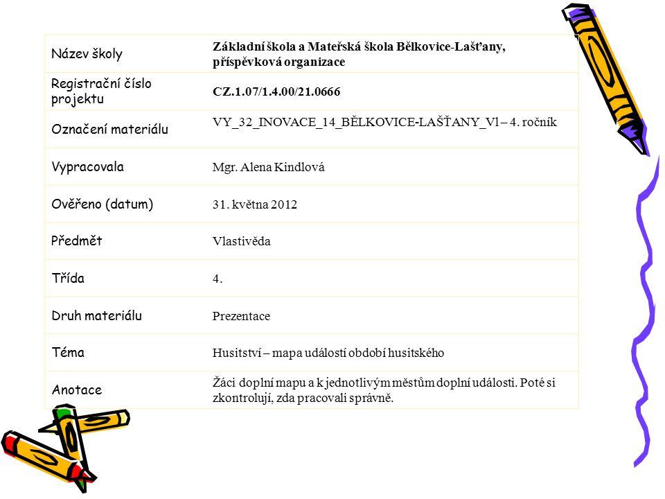 Název školy Základní škola a Mateřská škola Bělkovice-Lašťany, příspěvková organizace Registrační číslo projektu CZ.1.07/1.4.00/21.0666 Označení materiálu VY_32_INOVACE_14_BĚLKOVICE-LAŠŤANY_Vl – 4.