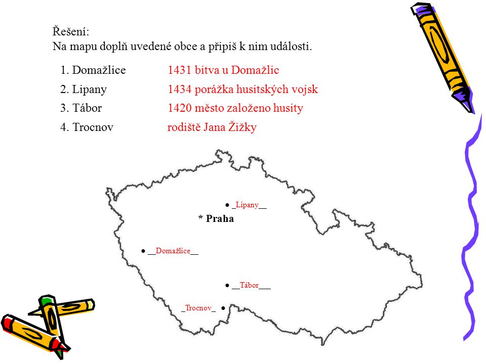 Řešení: Na mapu doplň uvedené obce a připiš k nim události. 1. Domažlice 2. Lipany 3. Tábor 4. Trocnov * Praha ● __Domažlice__ ● _Lipany__ ● __Tábor__