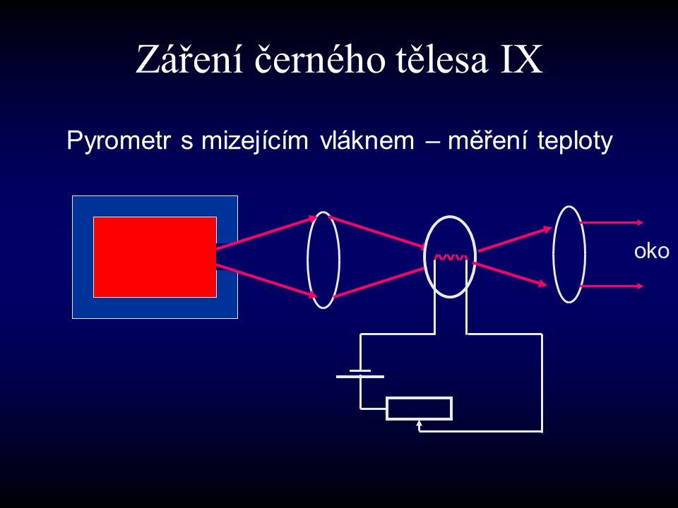 Pyrometr s mizejícím vláknem – měření teploty oko Záření černého tělesa IX