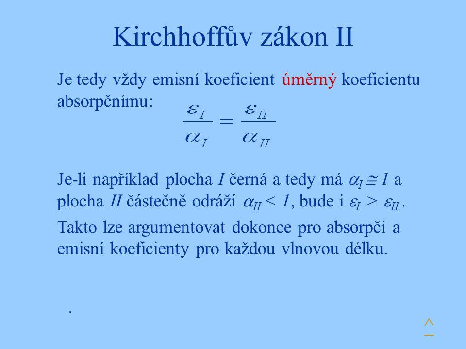 Kirchhoffův zákon II. Je tedy vždy emisní koeficient úměrný koeficientu absorpčnímu: Je-li například plocha I černá a tedy má  I  1 a plocha II část