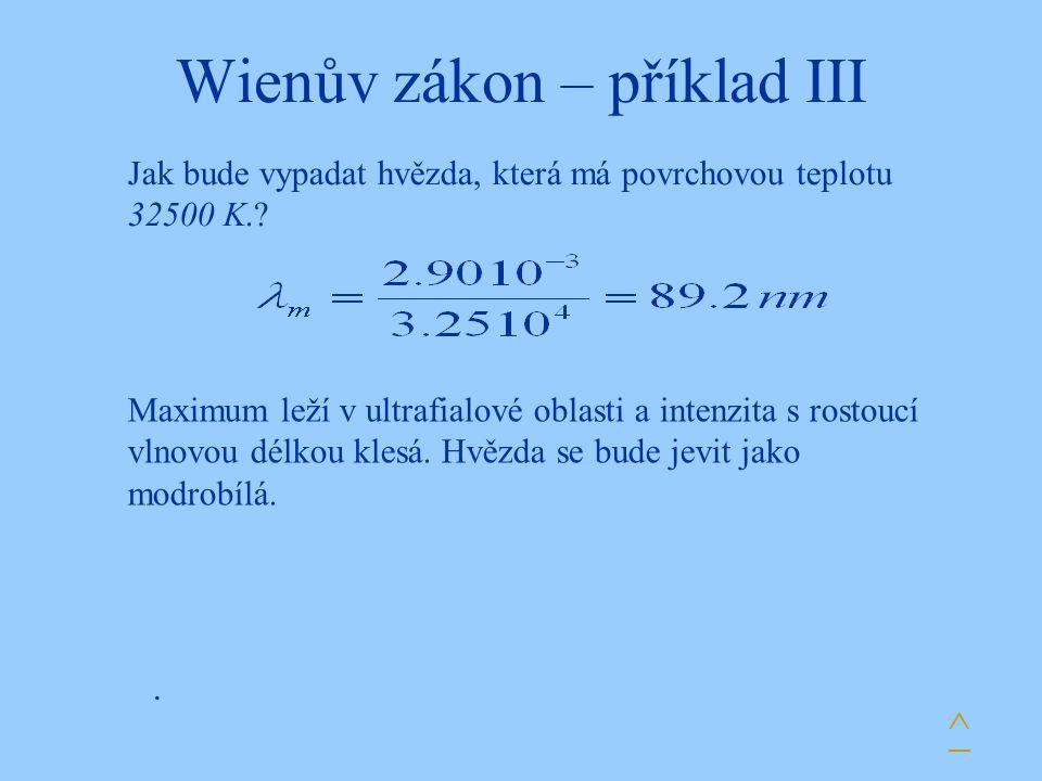 Wienův zákon – příklad III. Jak bude vypadat hvězda, která má povrchovou teplotu 32500 K.? ^ Maximum leží v ultrafialové oblasti a intenzita s rostouc
