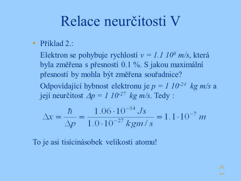 Relace neurčitosti V ^ Příklad 2.: Elektron se pohybuje rychlostí v = 1.1 10 6 m/s, která byla změřena s přesností 0.1 %. S jakou maximální přesností