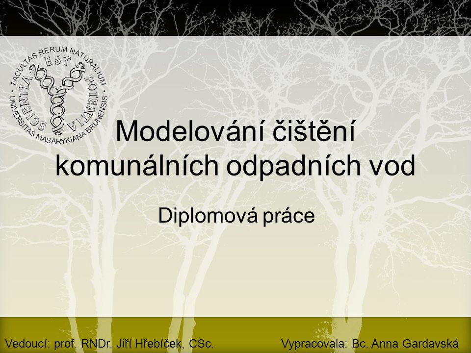 Modelování čištění komunálních odpadních vod Diplomová práce Vedoucí: prof. RNDr. Jiří Hřebíček, CSc.Vypracovala: Bc. Anna Gardavská