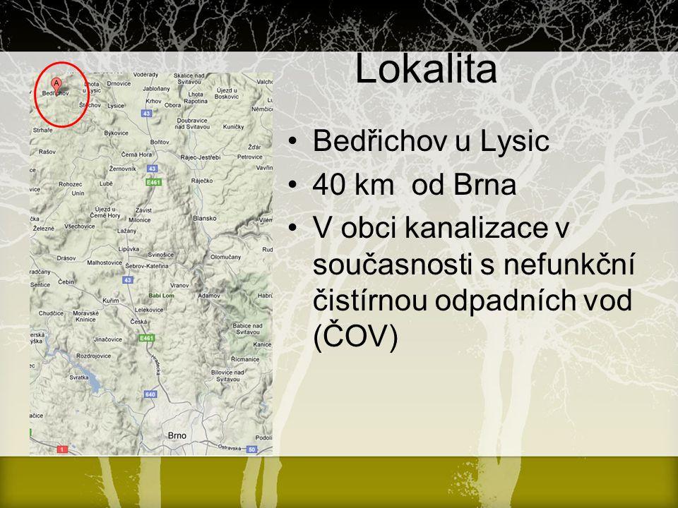 Lokalita Bedřichov u Lysic 40 km od Brna V obci kanalizace v současnosti s nefunkční čistírnou odpadních vod (ČOV)