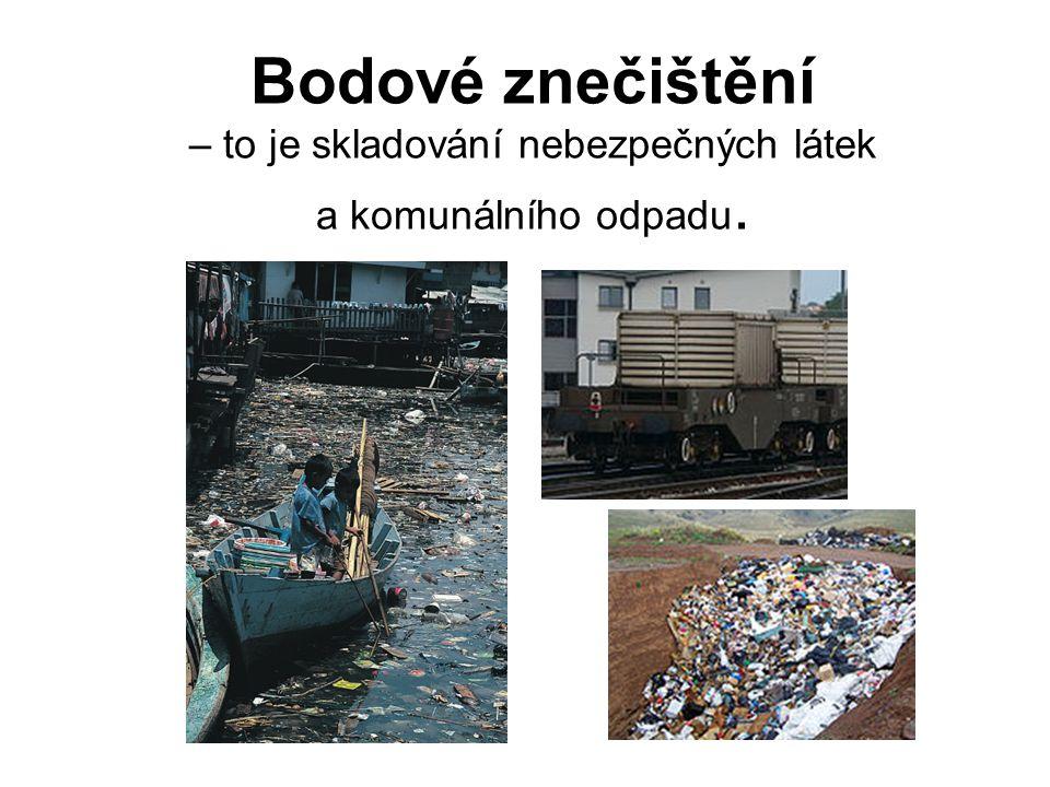 Bodové znečištění – to je skladování nebezpečných látek a komunálního odpadu.