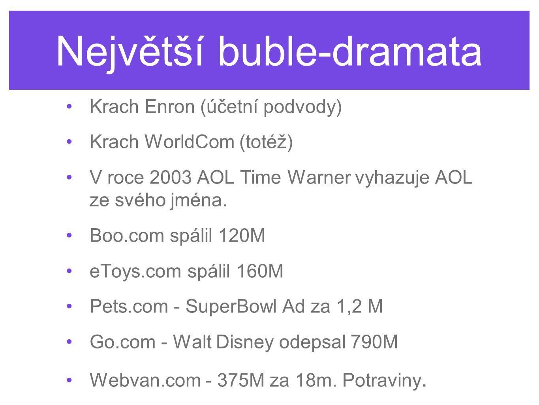 Největší buble-dramata Krach Enron (účetní podvody) Krach WorldCom (totéž) V roce 2003 AOL Time Warner vyhazuje AOL ze svého jména.