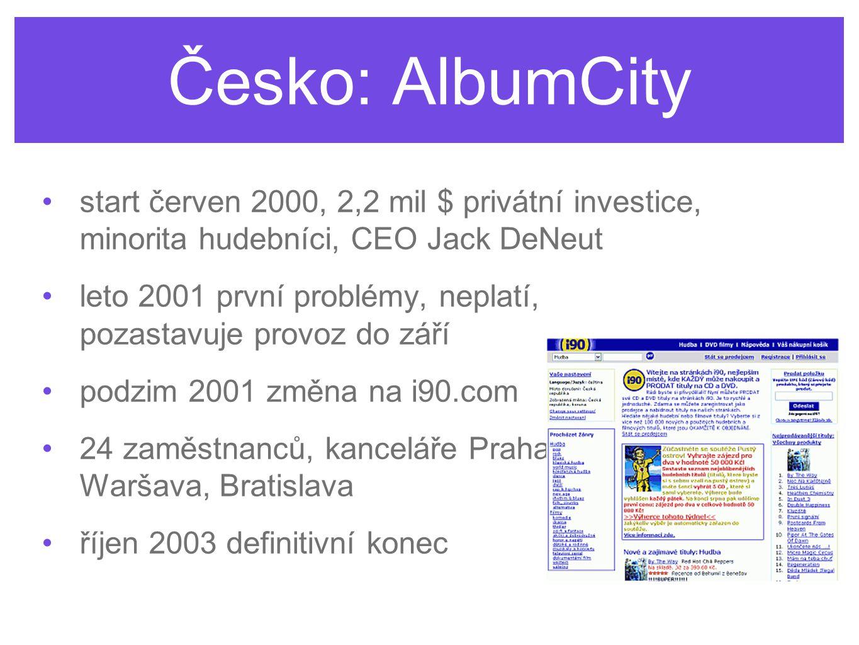 Česko: AlbumCity start červen 2000, 2,2 mil $ privátní investice, minorita hudebníci, CEO Jack DeNeut leto 2001 první problémy, neplatí, pozastavuje provoz do září podzim 2001 změna na i90.com 24 zaměstnanců, kanceláře Praha, Waršava, Bratislava říjen 2003 definitivní konec