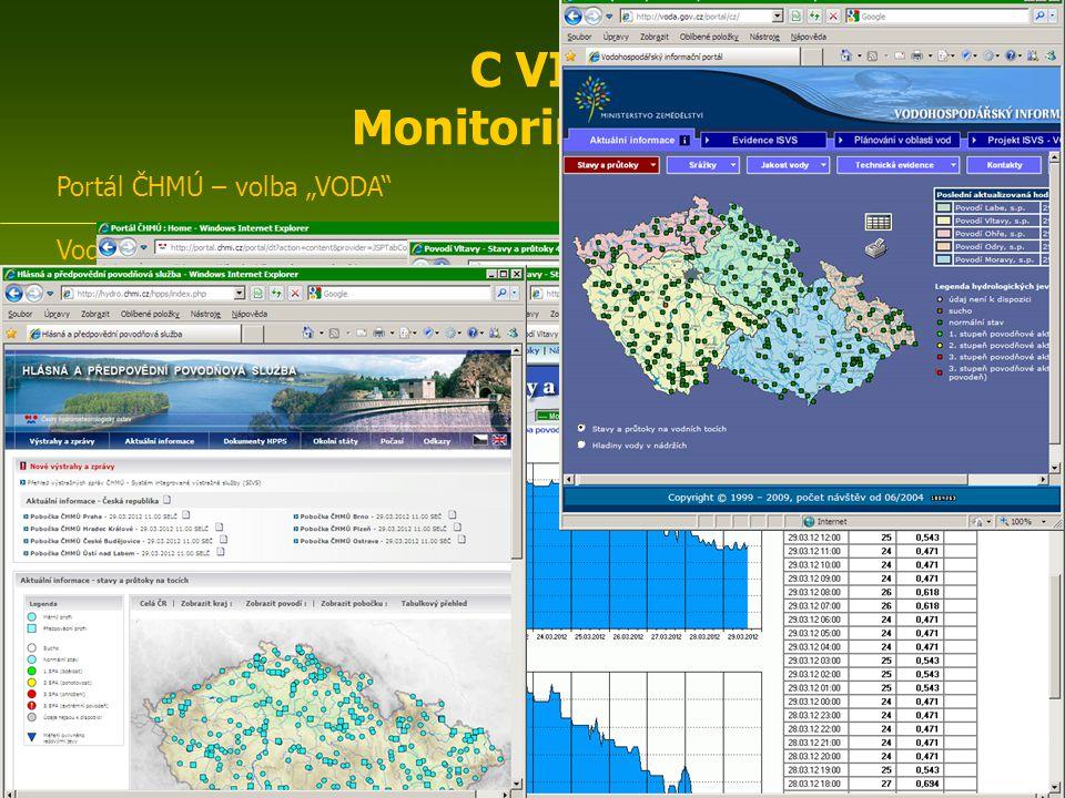 """Portál ČHMÚ – volba """"VODA http://portal.chmi.cz/portal/ Vodohospodářský informační portál http://www.voda.gov.cz/portal/cz/ aktuální informace ( stavy a průtoky, srážky, jakost vody …) evidence ISVS Podniky povodí:Povodí Odryhttp://www.pod.cz/ Povodí Ohřehttp://www.poh.cz Povodí Moravyhttp://www.pmo.cz/ Povodí Vltavyhttp://www.pvl.cz/ Povodí Labehttp://www.pla.cz/ Hydroekologický informační systém VÚV TGM http://heis.vuv.cz/ Povodňový informační systém http://www.povis.cz/ Povodňový plán ČR http://www.dppcr.cz/ Česká protipovodňová asociace http://www.povodne.cz/ ENIN - C VII Monitoring vod, klimatu, biodiversity2 C VII Monitoring vod"""