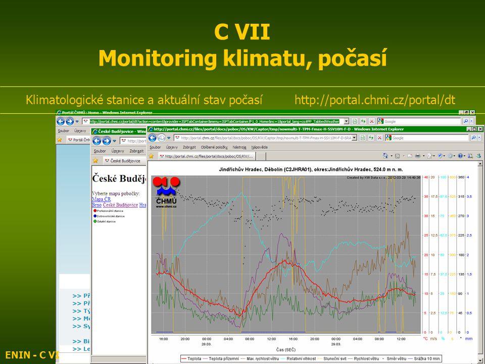 ENIN - C VII Monitoring vod, klimatu, biodiversity3 C VII Monitoring klimatu, počasí Klimatologické stanice a aktuální stav počasí http://portal.chmi.cz/portal/dt