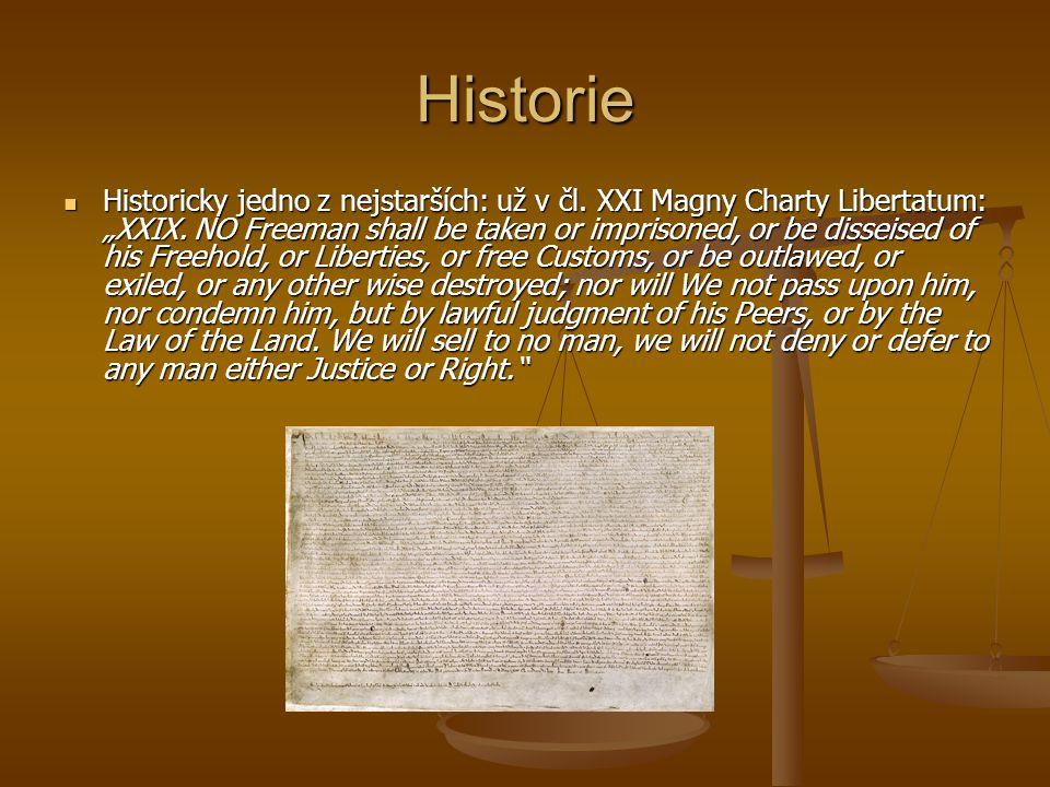 """Historie Historicky jedno z nejstarších: už v čl. XXI Magny Charty Libertatum: """"XXIX. NO Freeman shall be taken or imprisoned, or be disseised of his"""