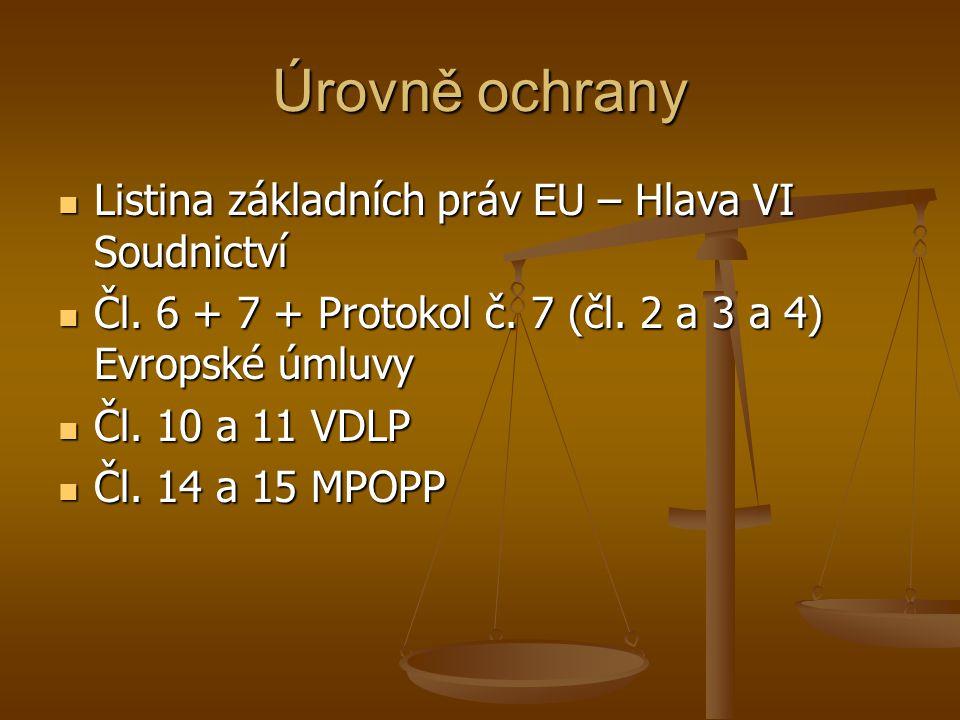 Úrovně ochrany Listina základních práv EU – Hlava VI Soudnictví Listina základních práv EU – Hlava VI Soudnictví Čl. 6 + 7 + Protokol č. 7 (čl. 2 a 3
