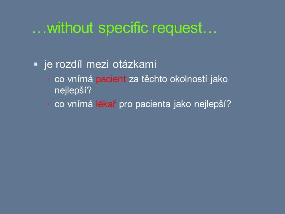 …without specific request…  je rozdíl mezi otázkami  co vnímá pacient za těchto okolností jako nejlepší.