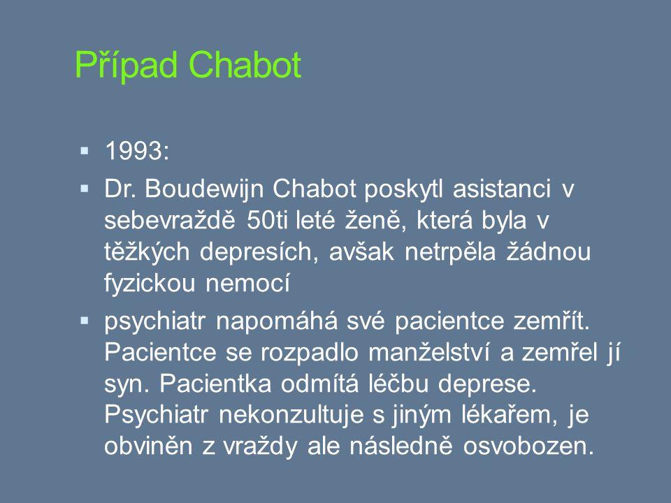 Případ Chabot  1993:  Dr. Boudewijn Chabot poskytl asistanci v sebevraždě 50ti leté ženě, která byla v těžkých depresích, avšak netrpěla žádnou fyzi