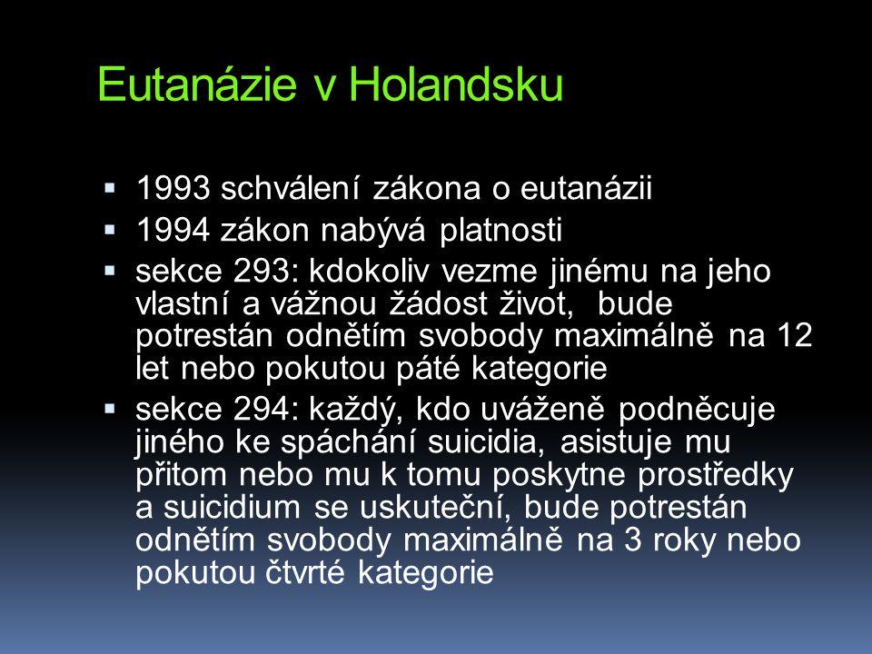 Eutanázie v Holandsku  1993 schválení zákona o eutanázii  1994 zákon nabývá platnosti  sekce 293: kdokoliv vezme jinému na jeho vlastní a vážnou žá