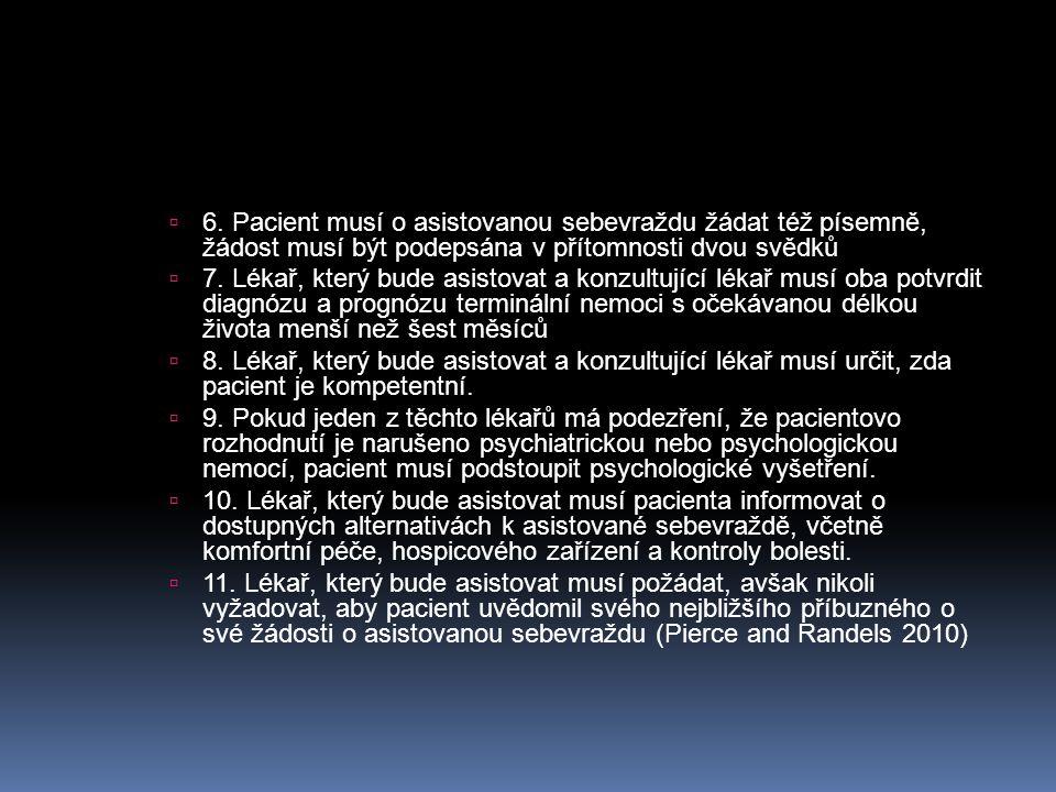  6. Pacient musí o asistovanou sebevraždu žádat též písemně, žádost musí být podepsána v přítomnosti dvou svědků  7. Lékař, který bude asistovat a k