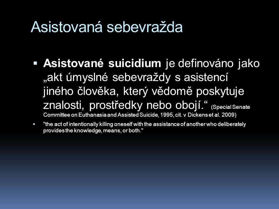 """Asistovaná sebevražda  Asistované suicidium je definováno jako """"akt úmyslné sebevraždy s asistencí jiného člověka, který vědomě poskytuje znalosti, prostředky nebo obojí. (Special Senate Committee on Euthanasia and Assisted Suicide, 1995, cit."""