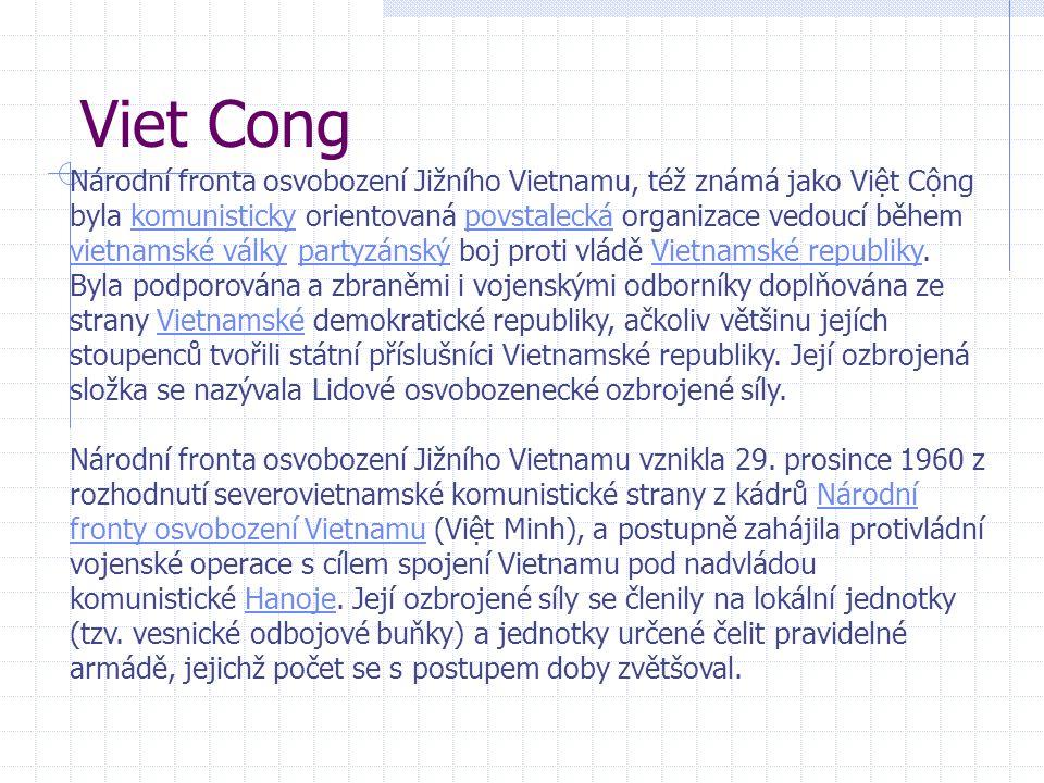 Viet Cong Národní fronta osvobození Jižního Vietnamu, též známá jako Việt Cộng byla komunisticky orientovaná povstalecká organizace vedoucí během vietnamské války partyzánský boj proti vládě Vietnamské republiky.