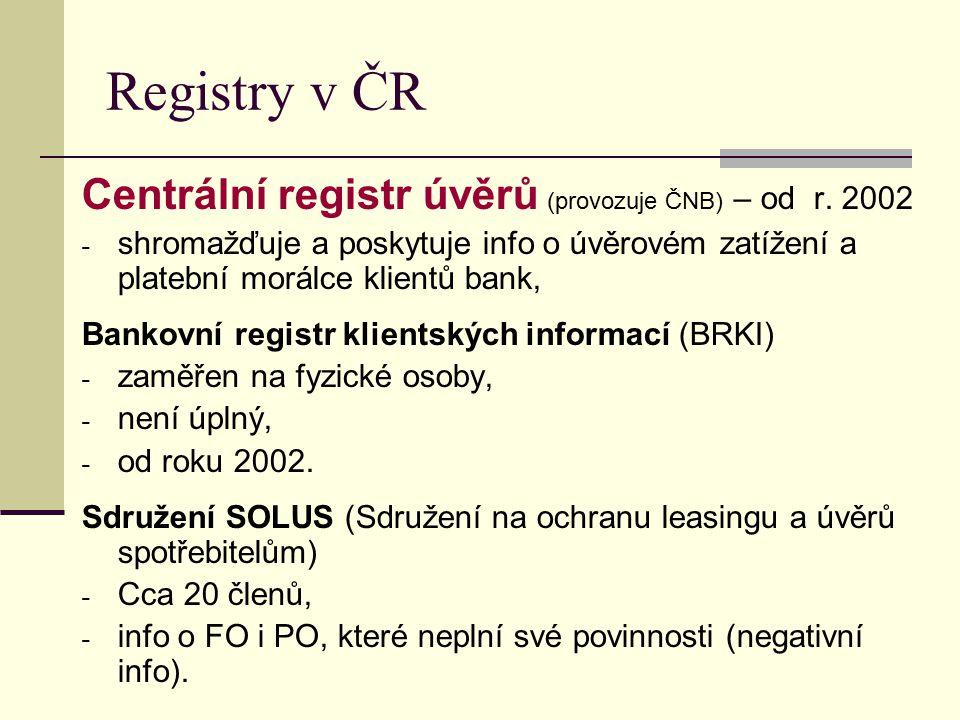 Registry v ČR Centrální registr úvěrů (provozuje ČNB) – od r. 2002 - shromažďuje a poskytuje info o úvěrovém zatížení a platební morálce klientů bank,