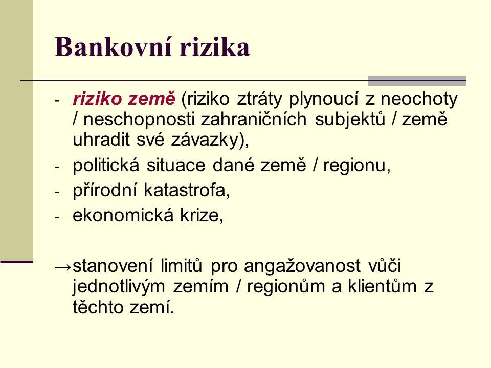 Bankovní rizika - riziko země (riziko ztráty plynoucí z neochoty / neschopnosti zahraničních subjektů / země uhradit své závazky), - politická situace