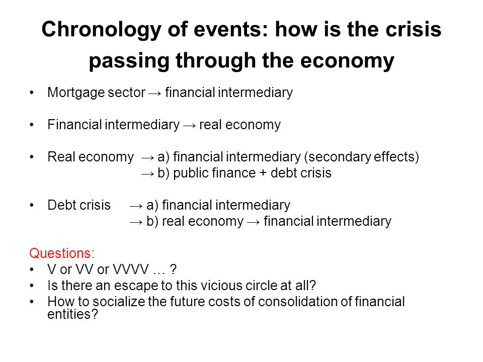 Chronology of events: how is the crisis passing through the economy Mortgage sector → financial intermediary Financial intermediary → real economy Real economy → a) financial intermediary (secondary effects) → b) public finance + debt crisis Debt crisis → a) financial intermediary → b) real economy → financial intermediary Questions: V or VV or VVVV … .