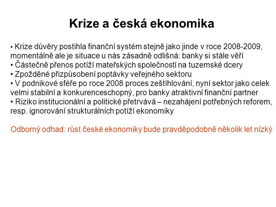 Krize a česká ekonomika Krize důvěry postihla finanční systém stejně jako jinde v roce 2008-2009, momentálně ale je situace u nás zásadně odlišná: banky si stále věří Částečně přenos potíží mateřských společností na tuzemské dcery Zpožděné přizpůsobení poptávky veřejného sektoru V podnikové sféře po roce 2008 proces zeštíhlování, nyní sektor jako celek velmi stabilní a konkurenceschopný, pro banky atraktivní finanční partner Riziko institucionální a politické přetrvává – nezahájení potřebných reforem, resp.