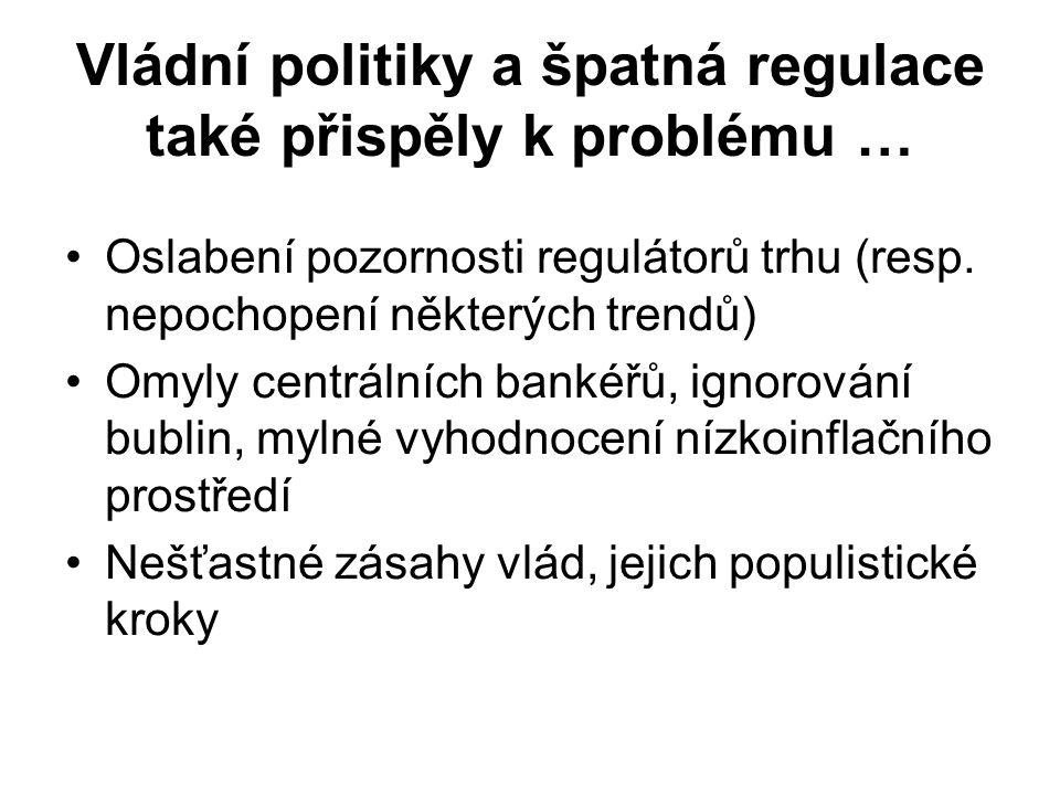 Vládní politiky a špatná regulace také přispěly k problému … Oslabení pozornosti regulátorů trhu (resp.