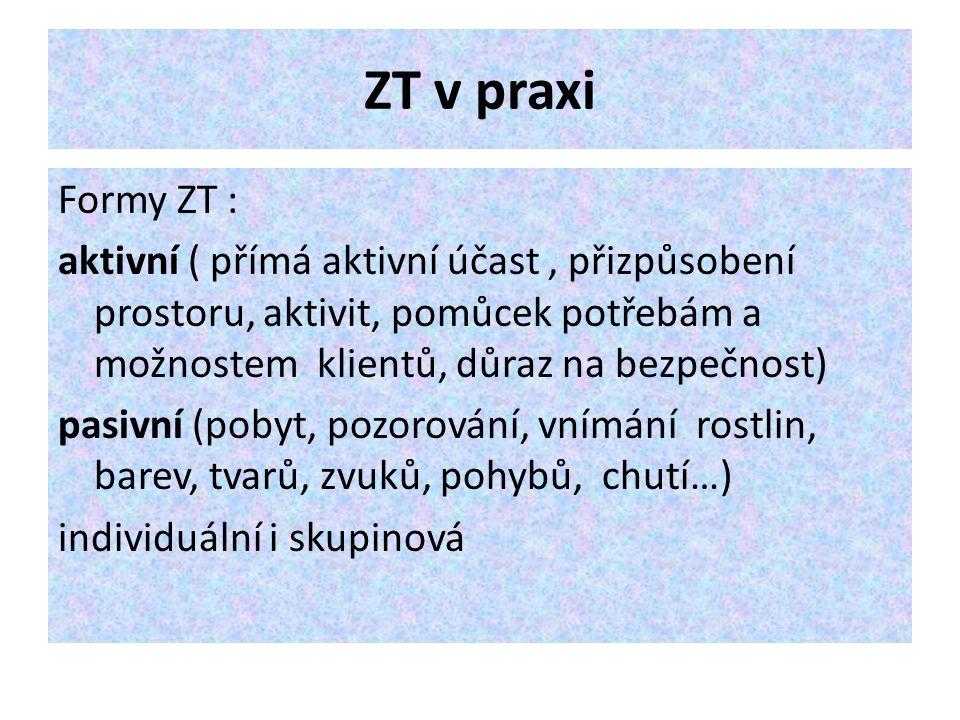 ZT v praxi Formy ZT : aktivní ( přímá aktivní účast, přizpůsobení prostoru, aktivit, pomůcek potřebám a možnostem klientů, důraz na bezpečnost) pasivn