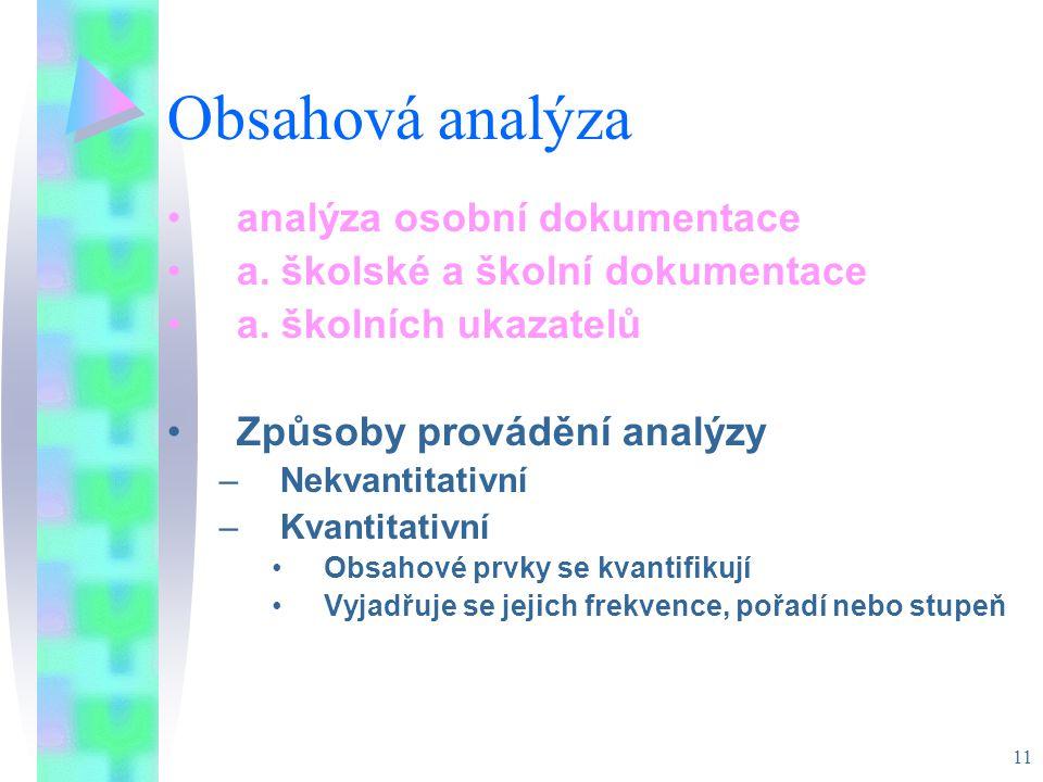 11 Obsahová analýza analýza osobní dokumentace a. školské a školní dokumentace a. školních ukazatelů Způsoby provádění analýzy –Nekvantitativní –Kvant