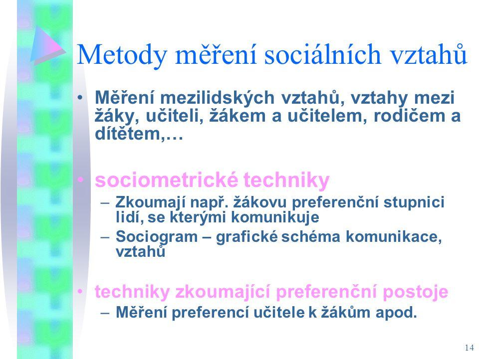 14 Metody měření sociálních vztahů Měření mezilidských vztahů, vztahy mezi žáky, učiteli, žákem a učitelem, rodičem a dítětem,… sociometrické techniky –Zkoumají např.