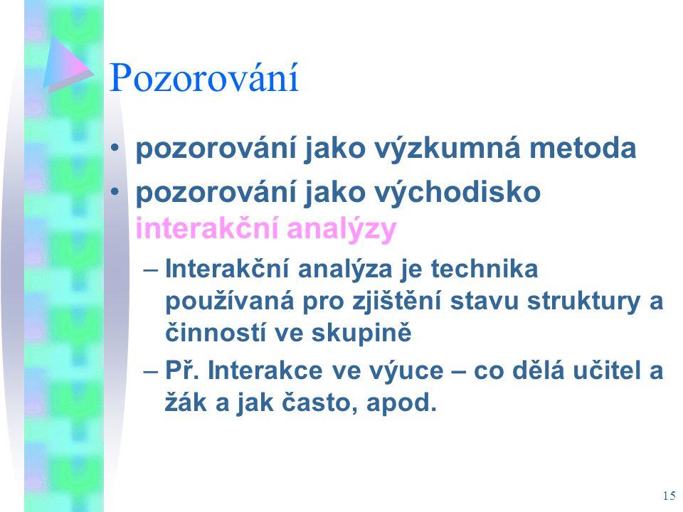 15 Pozorování pozorování jako výzkumná metoda pozorování jako východisko interakční analýzy –Interakční analýza je technika používaná pro zjištění stavu struktury a činností ve skupině –Př.