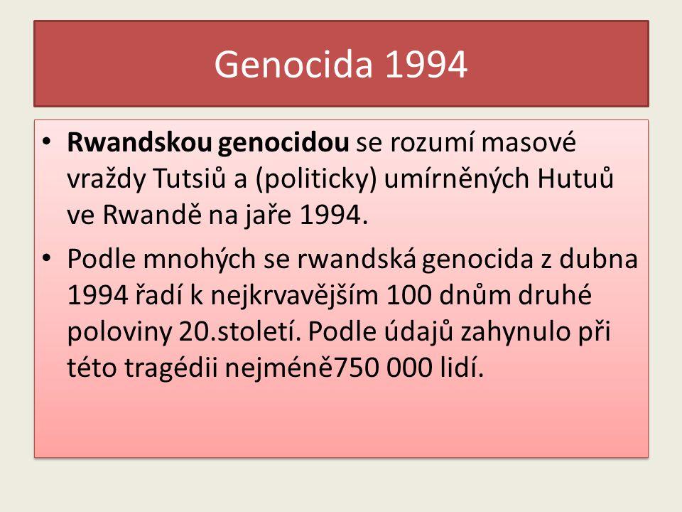 Genocida 1994 Rwandskou genocidou se rozumí masové vraždy Tutsiů a (politicky) umírněných Hutuů ve Rwandě na jaře 1994. Podle mnohých se rwandská geno