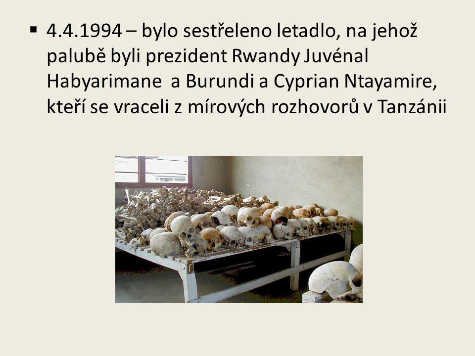  4.4.1994 – bylo sestřeleno letadlo, na jehož palubě byli prezident Rwandy Juvénal Habyarimane a Burundi a Cyprian Ntayamire, kteří se vraceli z míro