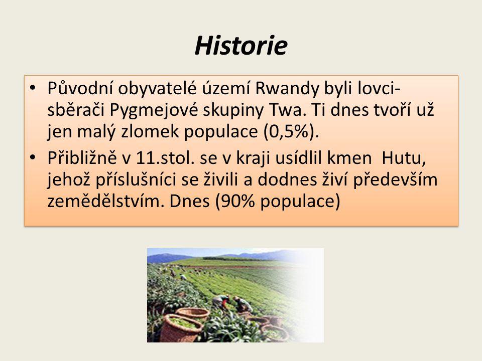 Historie Původní obyvatelé území Rwandy byli lovci- sběrači Pygmejové skupiny Twa. Ti dnes tvoří už jen malý zlomek populace (0,5%). Přibližně v 11.st