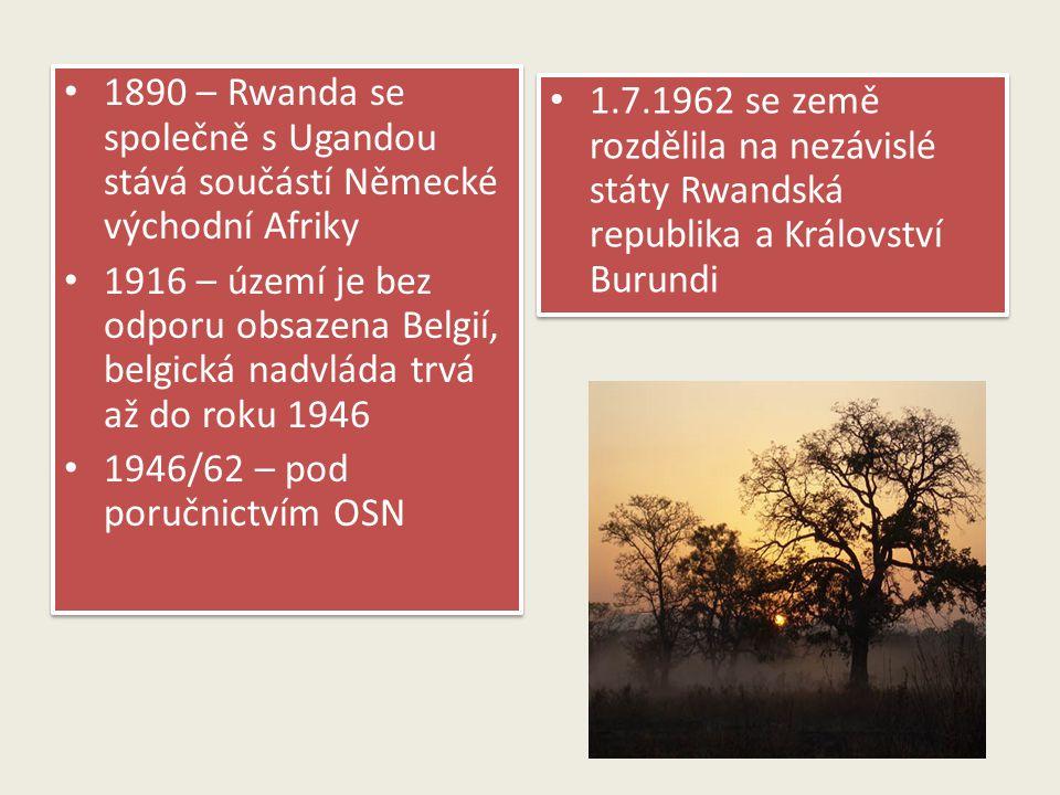 1890 – Rwanda se společně s Ugandou stává součástí Německé východní Afriky 1916 – území je bez odporu obsazena Belgií, belgická nadvláda trvá až do ro