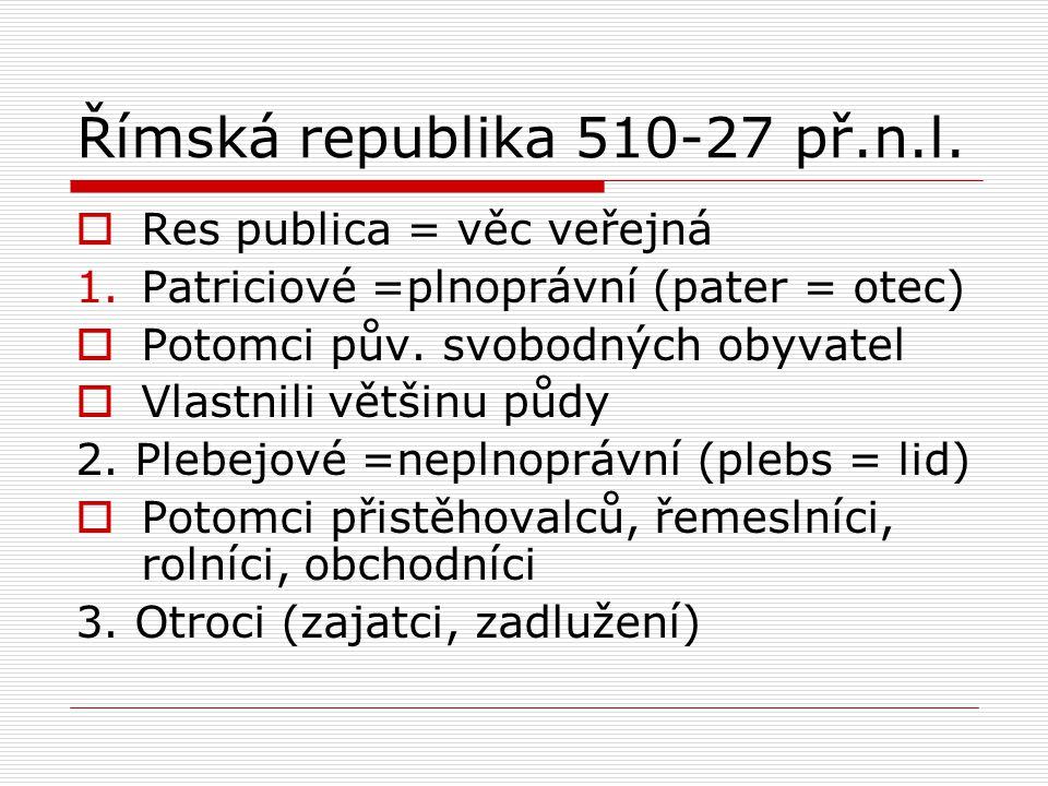 Římská republika 510-27 př.n.l.  Res publica = věc veřejná 1.Patriciové =plnoprávní (pater = otec)  Potomci pův. svobodných obyvatel  Vlastnili vět