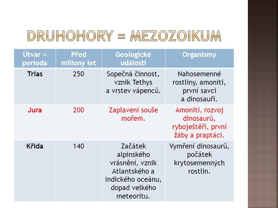 Útvar = perioda Před miliony let Geologické události Organismy Trias250Sopečná činnost, vznik Tethys a vrstev vápenců.