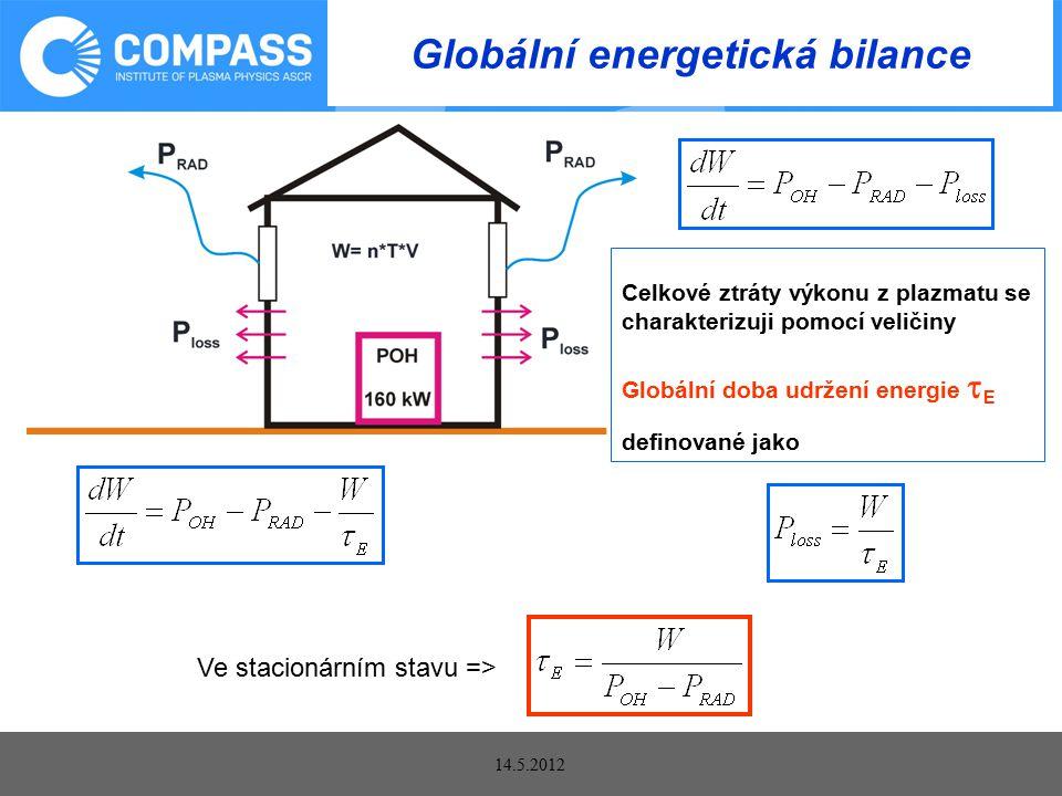 14.5.2012 Globální energetická bilance Celkové ztráty výkonu z plazmatu se charakterizuji pomocí veličiny Globální doba udržení energie  E definované jako Ve stacionárním stavu =>