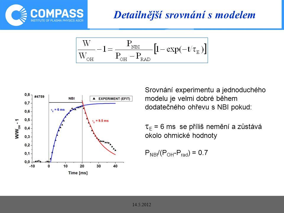 14.5.2012 Detailnější srovnání s modelem Srovnání experimentu a jednoduchého modelu je velmi dobré během dodatečného ohřevu s NBI pokud:  E = 6 ms se příliš nemění a zůstává okolo ohmické hodnoty P NBI /(P OH -P rad ) = 0.7