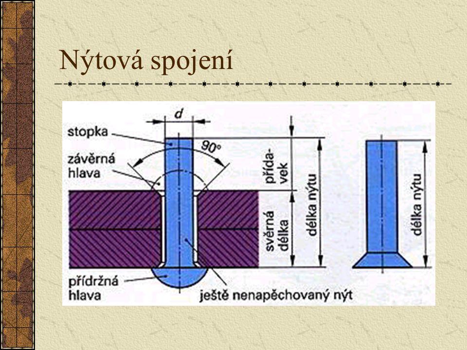 Nýtování Pod pojmem n nn nýtování rozumíme nerozebíratelné spojení kovových částí pěchováním nýtu. Nýt nastrčený do otvorů ležících na sobě se přitáhn