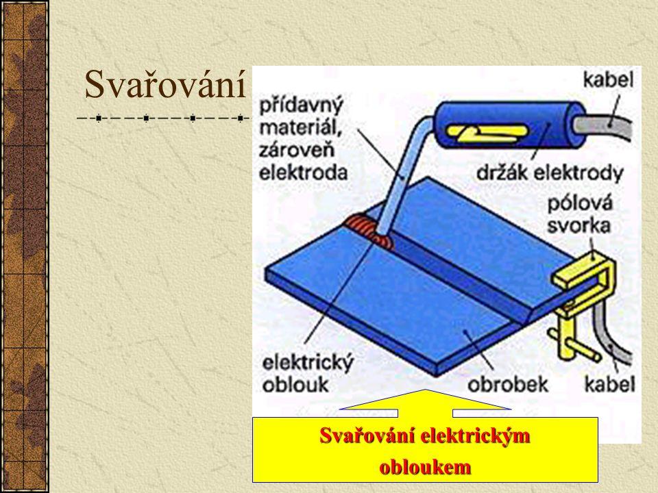 Svařování U s ss svařování elektrickým obloukem se za pomoci elektrického oblouku materiál na svařovaném místě roztaví, zároveň se taví elektroda jako přídavný materiál a vytvoří svarovou housenku.