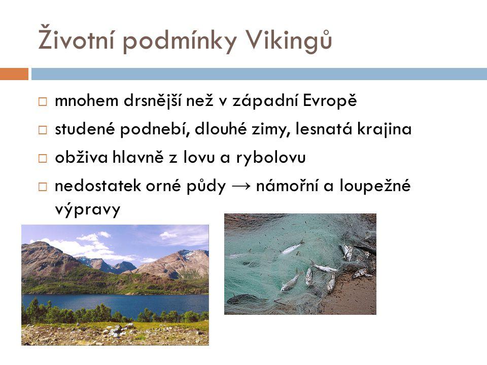 Životní podmínky Vikingů  mnohem drsnější než v západní Evropě  studené podnebí, dlouhé zimy, lesnatá krajina  obživa hlavně z lovu a rybolovu  ne