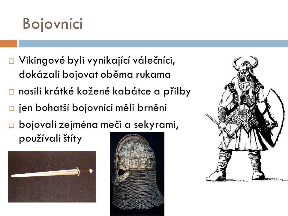 Bojovníci  Vikingové byli vynikající válečníci, dokázali bojovat oběma rukama  nosili krátké kožené kabátce a přilby  jen bohatší bojovníci měli br